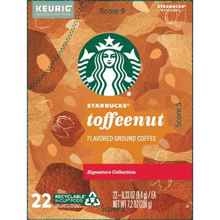 Starbucks Toffeenut Flavored Medium Roast Single Serve Coffee for Keurig Brewers, 1 Box of 22 (22 Total K-Cup