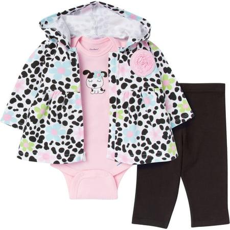 795a6443bce3 Gerber - Newborn Baby Girl French Terry 3- - Walmart.com