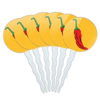 Chili Pepper Fun Southwest Fiesta Mexican Cupcake Picks Toppers - Set of 6