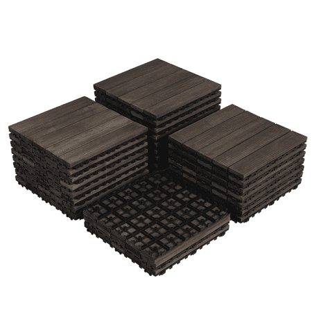 "Pack of 27 Wood Flooring Tiles Interlocking Wood Tiles Indoor & Outdoor For Patio Garden Deck Poolside 12"" x 12"" Black"