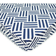 TL Care 100 Percent Cotton Percale Fitted Crib Sheet, Navy Parquet