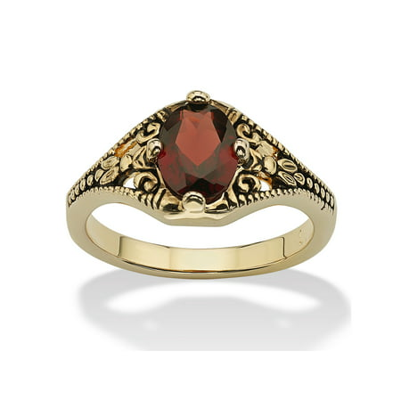 1.40 TCW Oval-Cut Genuine Garnet Vintage-Style Ring 14k Yellow -