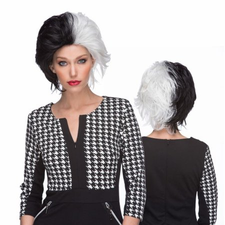Characters Wicked Synthetic Wig - Black and White - White Short Wig