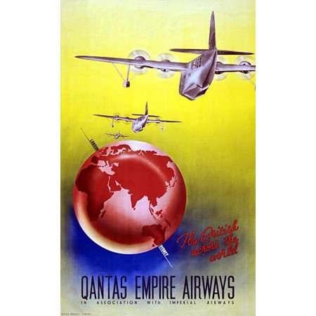 Qantas Empire Airways Old Vintage Travel Canvas Art - (36 x 54)