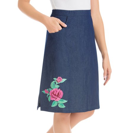 Embroidered Rose Knee Length Denim Skirt with Elastic Waistband and Front Pockets Spring Embroidered Skirt