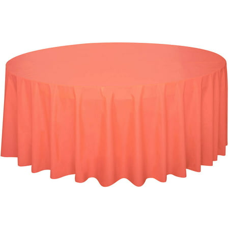 Plastic Round Tablecloth, 84 in, Coral, 1ct](Coral Table Cloth)