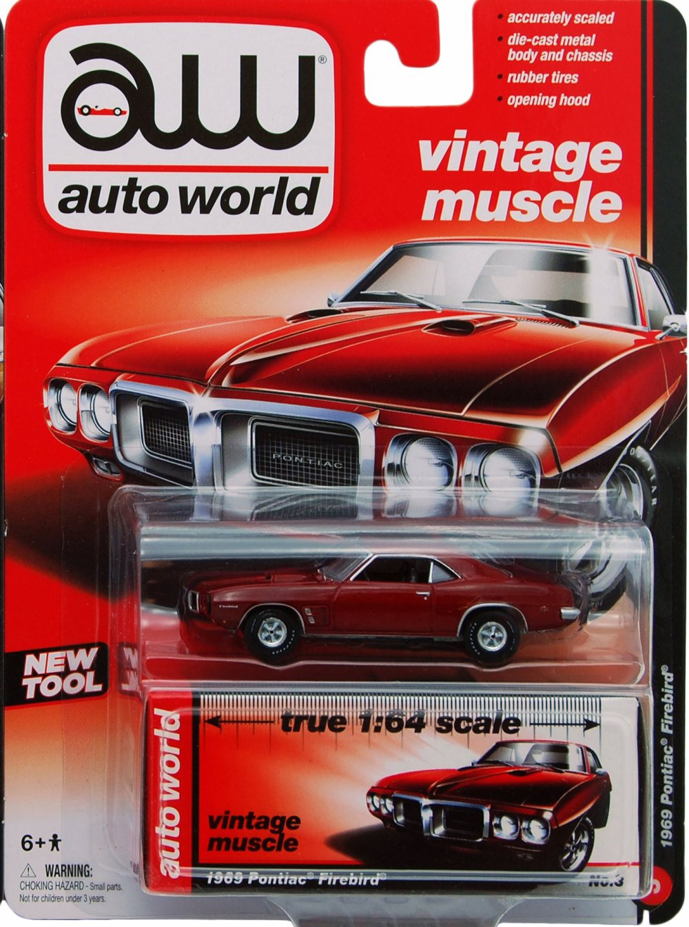 1969 Pontiac Firebird , Red - Auto World AW64012/48B - 1/64 Scale ...