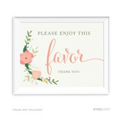 Please Enjoy This Favor, Thank You Floral Roses Girl Baby Shower Party Signs