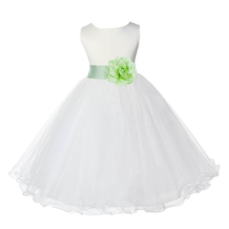1028a2323 ekidsbridal - Ekidsbridal Ivory Satin Tulle Rattail Edge Flower Girl ...