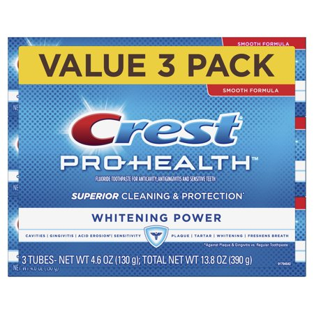 Crest Pro Health Whitening Power Toothpaste, 4.6 oz, 3 Pack