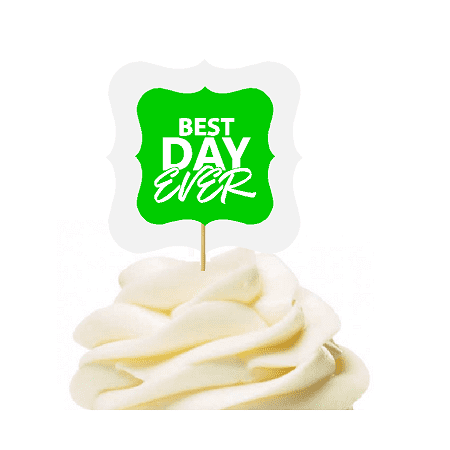 Greem 12pack Best Day Ever Cupcake Desert Appetizer Food Picks for Weddings, Birthdays, Baby Showers, Events & (Best Cheap Party Food)