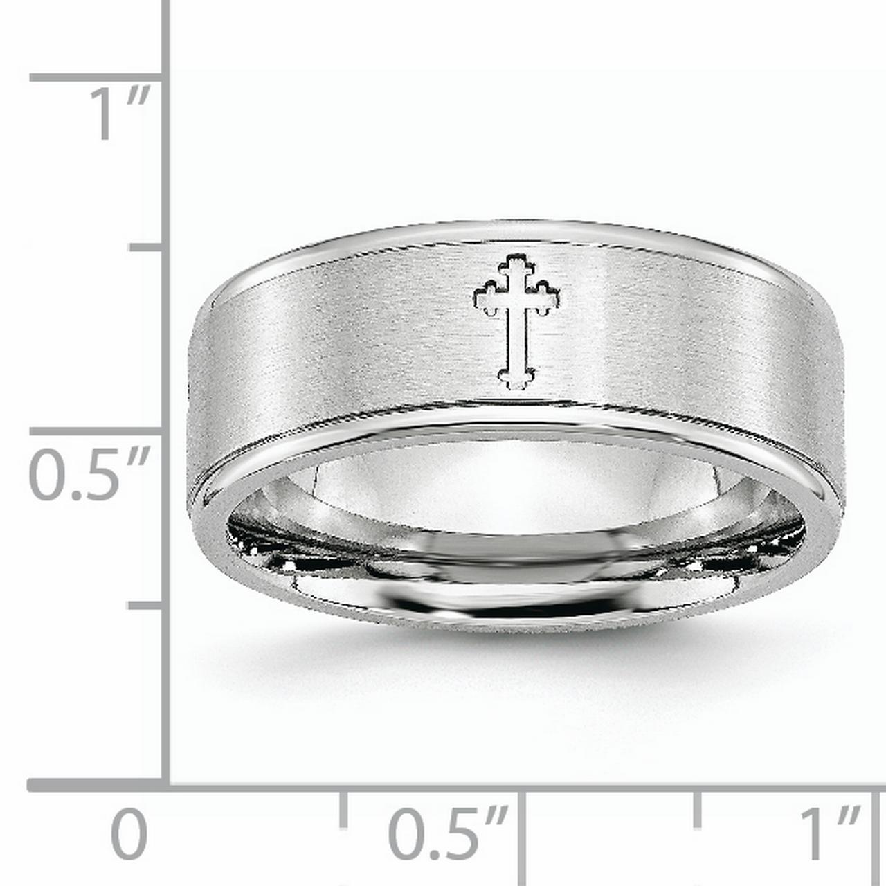 Cobalt Ridged Edge 8mm Wedding Ring Band Size 9.00 Designed Religious Fashion Jewelry Gifts For Women For Her - image 8 de 11