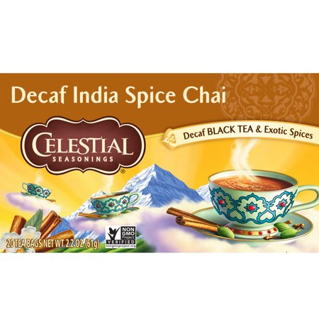 (2 Pack) Celestial Seasonings Chai Tea, Decaf India Spice, 20 Count
