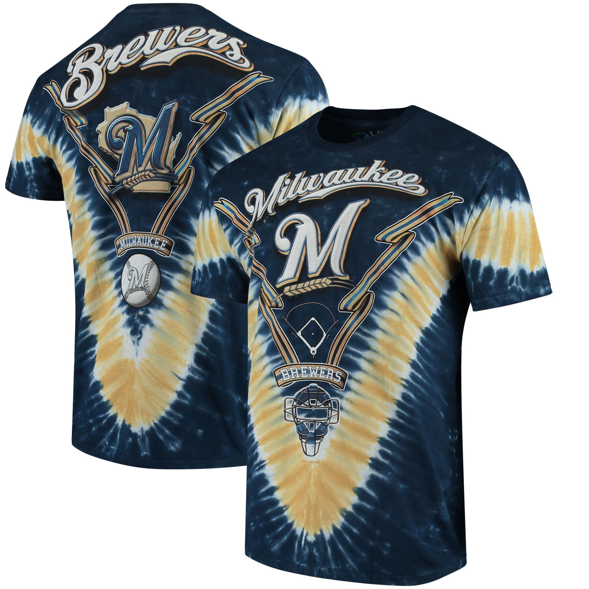 Milwaukee Brewers V Tie-Dye T-Shirt - Navy/Gold