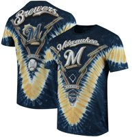 Milwaukee Brewers V Tie-Dye T-Shirt - Navy/Gold