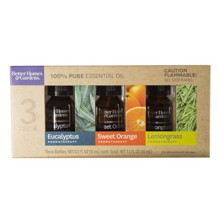 Better Homes & Gardens 15 mL - 3 Pack 100 % Pure Essential Oil Set: Eucalyptus, Sweet Orange, and Lemon - Sweet 15 Themes