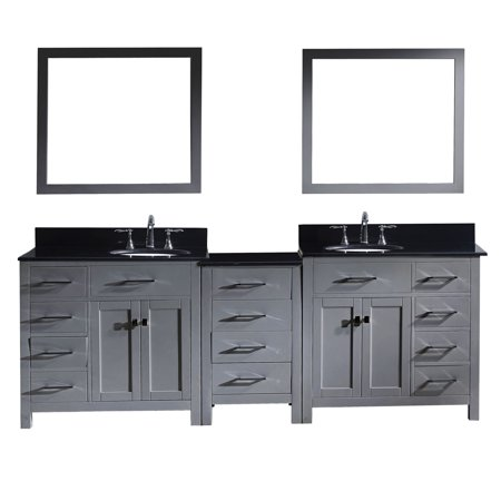 Virtu Md 2193 Bgro Gr 002 Caroline Parkway 93 Inch Double Bathroom Vanity Set In Grey