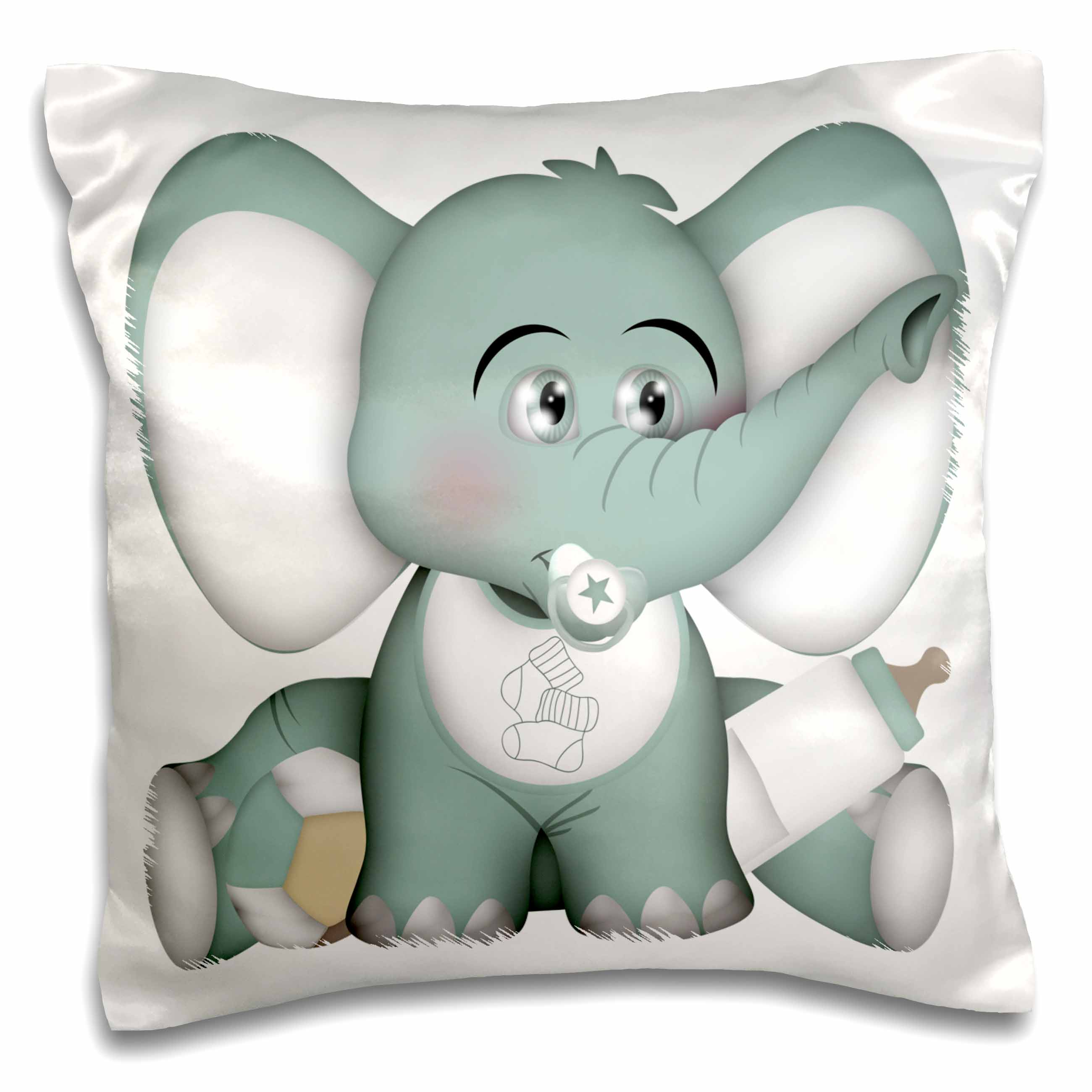3dRose Cute Teal and White Baby Elephant With Pacifier and Bib Illustration, Pillow Case, 16 by 16-inch