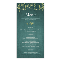 Personalized Wedding Menu Card - Greenery Lights - 4 x 8 Flat Deluxe