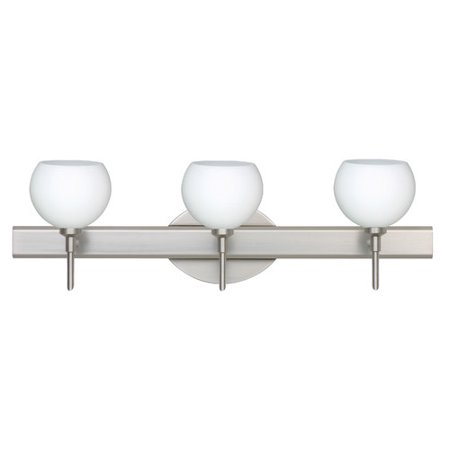Besa Lighting 3SW-565807 Palla 3-Light Reversible Halogen Bathroom Vanity Light with Opal Matte Glass Shades