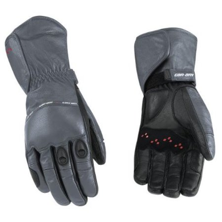 Hero Long Leather Motorcycle Glove (Can-Am Spyder Motorcycle New OEM Leather Riding Gloves Grey Long Medium M)