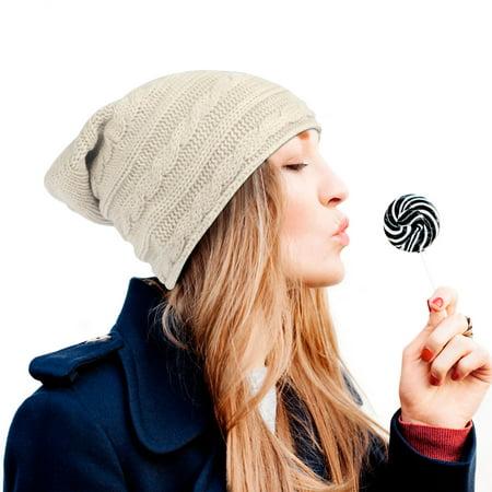 Zodaca Women Fashion Lightweight Slouchy Patterned Beanie Warm Knit Hat