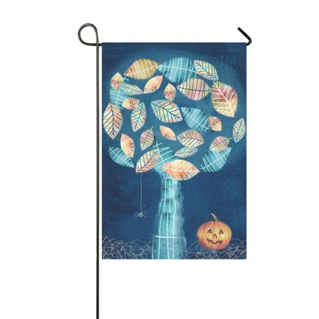 Halloween Web Banners (MYPOP Halloween with Scary Little Spider Web on Mysterious Tree Pumpkin Garden Flag Banner 12 x 18)