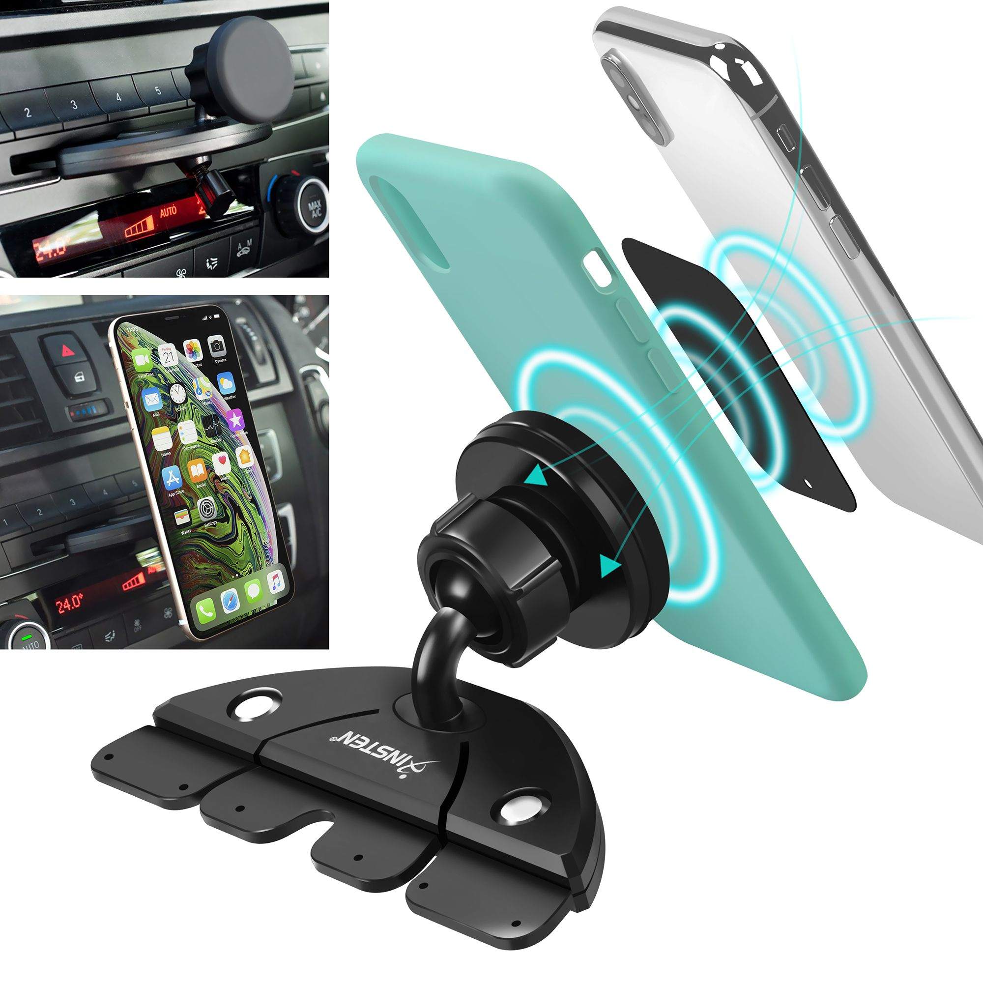 Magnetic Cell Phone Mount >> Insten Cd Slot Magnetic Cell Phone Car Mount Holder For Iphone Xs Max Xs Xr X 8 7 6 6s Android Smartphone Lg Samsung Galaxy S10 S10e S9 S9 S8 S7