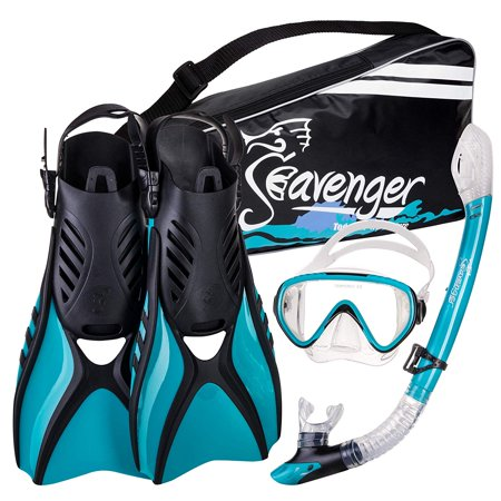 Seavenger Advanced Snorkeling Set with Panoramic Mask, Trek Fins, Dry Top Snorkel & Gear Bag (Clear Silicone/Teal,
