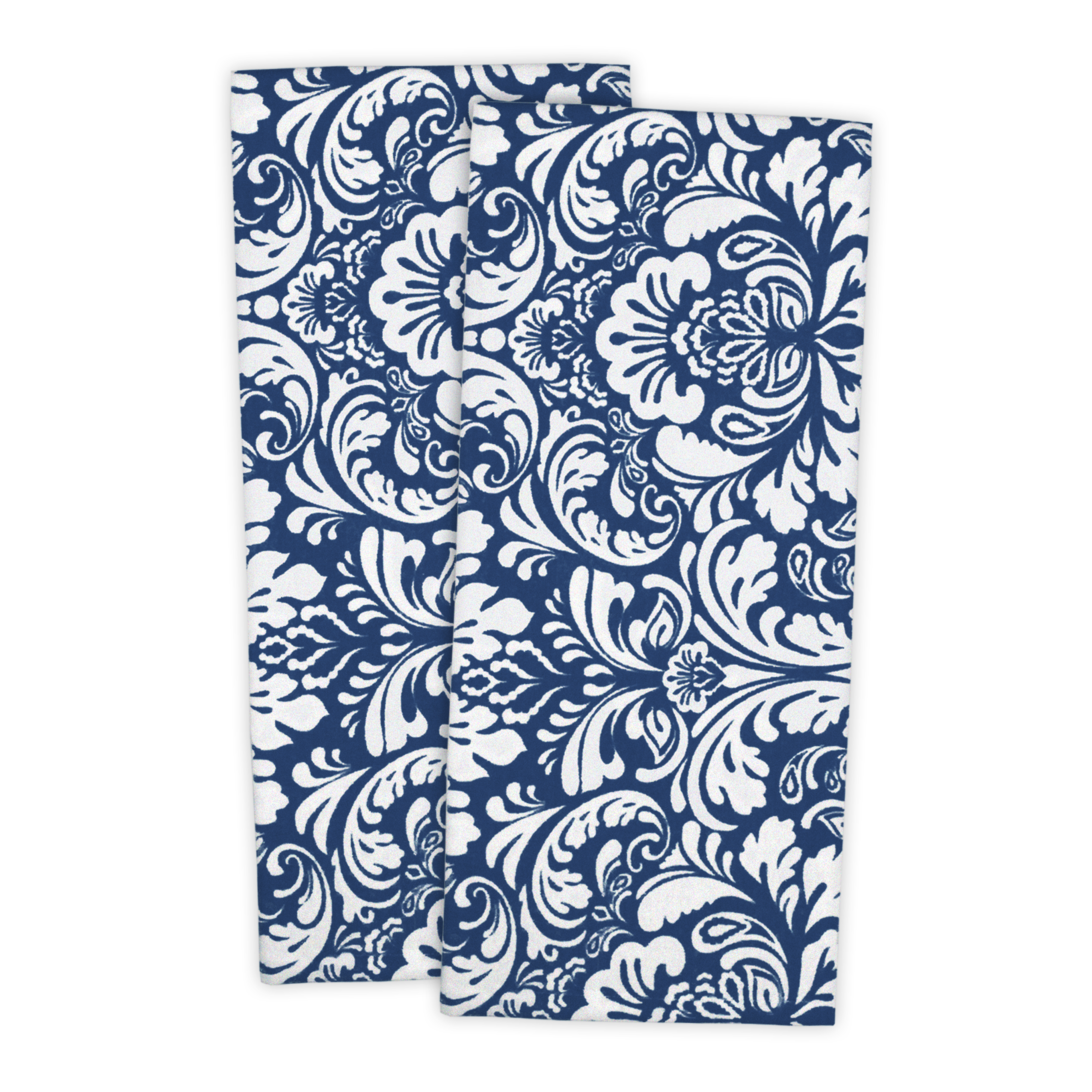 "Design Imports Damask Dishtowel Set, Set of 2, 28""x18"", 100% Cotton, Multiple Colors"