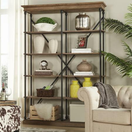 "Weston Home 58""W 5-shelf Rustic X-back Medium Double Bookshelf, Multiple Colors"