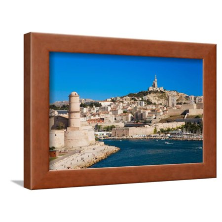 Fort Saint-Jean and old port of third largest city in France, Marseille, Provence, France on the... Framed Print Wall Art - City Of Port Saint Lucie