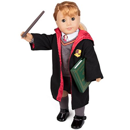 Super Deluxe Hermione Granger-Inspired Doll Clothes for American Girl Dolls: 9pc Hogwarts-like School Uniform w Book, Wand, Robe, Shirt, Skirt, Sweater, Tie, Socks and Shoes)