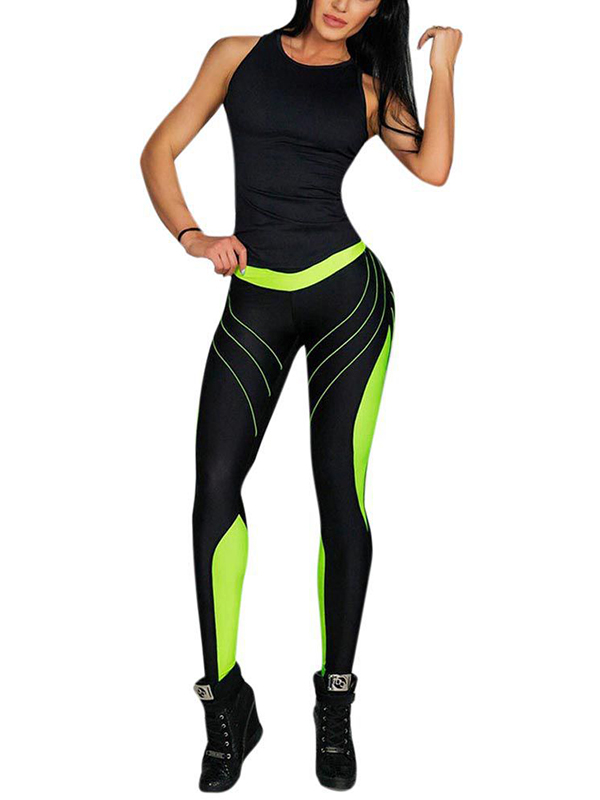 Funcee Women Sexy Stitching Printed Sports Yoga Pants Workout Fitness