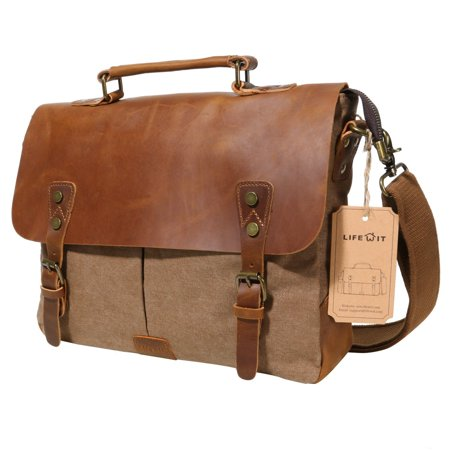 Lifewit Leather Laptop Satchel Messenger Bag Canvas Briefcase, Coffee 14 (Hobo Coffee)
