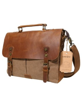Lifewit Leather Laptop Satchel Messenger Bag Canvas Briefcase, Coffee 14 inch