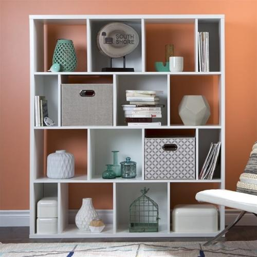 South Shore Reveal 16 Cubby Wood Bookcase in White with 2 Baskets