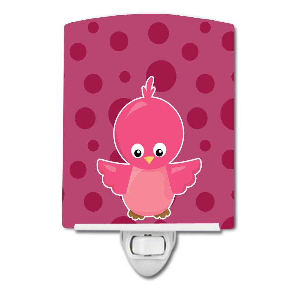 Carolines Treasures Bird Polka Dots Ceramic Night Light Pink 6 x 4