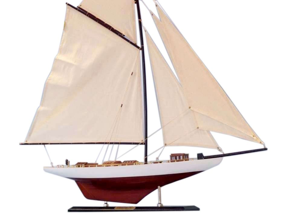 "Columbia Limited 35"" Wood Sailboat Model Sailboat Model Decor Wooden Yacht Model Model Sailing Boat Nautical Decor Not A Model Ship Kit by Handcrafted Nautical Decor"