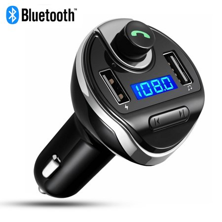Bluetooth FM Transmitter, EEEkit Wireless In-Car FM Transmitter Radio Adapter Car Kit, Universal Car Charger with Dual USB Charging Ports, Hands Free Calling for iPhone, Samsung, HTC, etc (Black) (Samsung Note 3 Radio Transmitter)