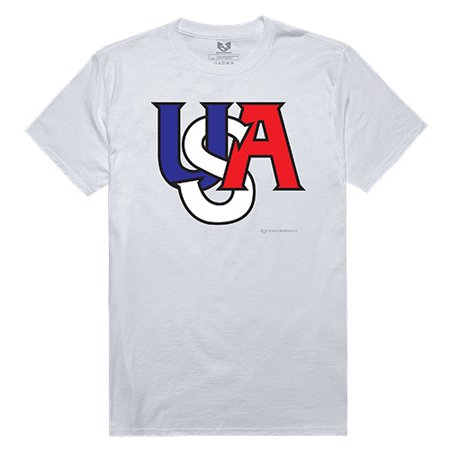USA American Flag Interlock Winter Olympics Patriotic Team T-Shirts Tees White 100% Cotton Unisex (Team Usa Shop Com)