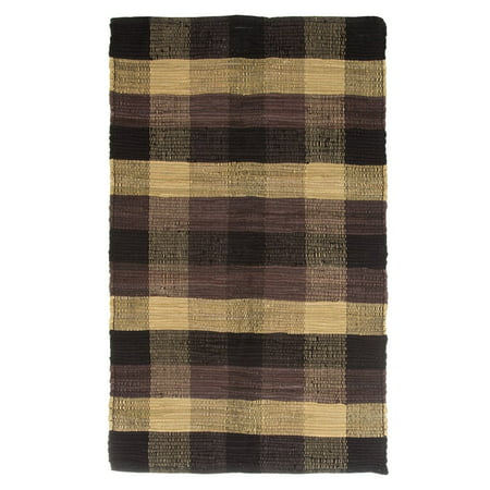 Chindi Plaid Accent Area Rug 27x45 Black Tan Chocolate