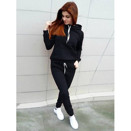 Long Sleeve Tracksuits for Women, Women's Casual Two-Piece Sportswear Hoodie Sweatshirt for Juniors, Black / Red Kangaroo Pocket Pullover Hoodie Sweatpants 2 Piece Sport Trackusuit Outfits Set, S-XL