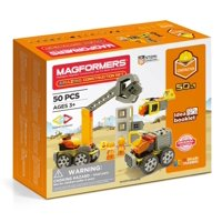 Magformers Amazing Construction 50 Pieces, Wheels, Orange colors, Magnetic Geometric tiles STEM Toy Ages 3+