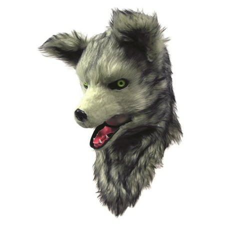 Forum Wolf Deluxe Moving Mouth Faux Fur Full Head Mask, Grey White, One-Size - Moving Halloween Masks