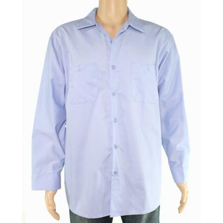 Cinta Mens Blue Dual Pocket Uniform Long Sleeve Button Down Shirt $40 5XL ()