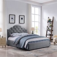 Christopher Knight Home Cordeaux Queen-Size Bed Frame Fully-Upholstered  Button-Tufted by