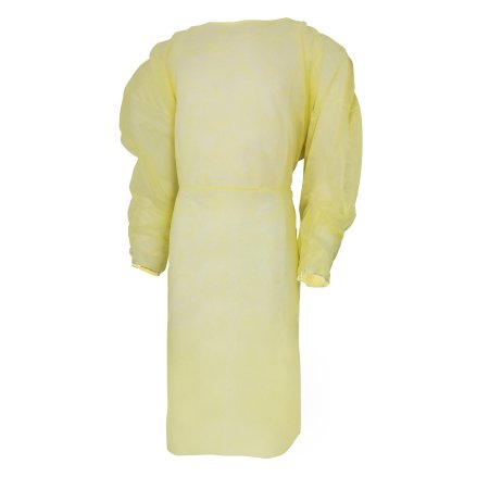 McKesson Fluid-Resistant Isolation Gown  One Size Fits Most Yellow Elastic Cuff Adult Disposable Pack of (Table Of Initial Isolation And Protective Action Distances)