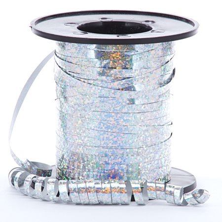 Silver Sparkle and Shiney Holographic Decorative Curling Ribbon, 219 yards