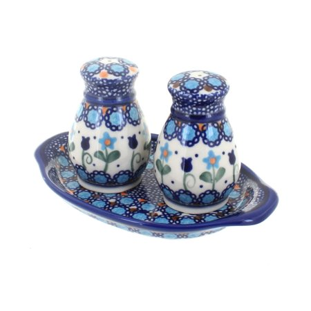 Polish Pottery Savannah Salt & Pepper Shakers with Dish